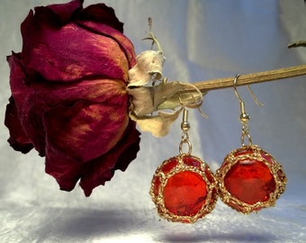 Red and Gold Florist Marble Earrings