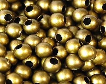 Antique Bronze Iron Beads, 4mm round -50