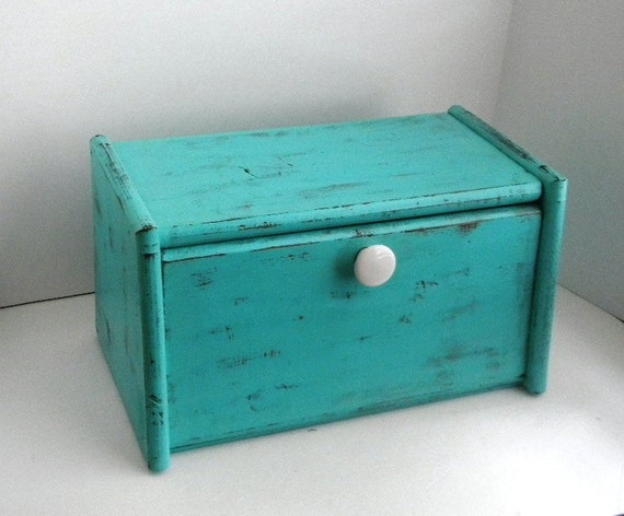 Cottage Chic Bread Box - upcycled Hand Painted Vintage Bread Box - Beach Chic Bread Box
