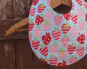 Baby Bib for Girl - Reversible and Washable - Pink and Red Strawberries and Green/Yellow Bead Print - Toddler - Little House of Colors