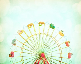 "Nursery Photography - ferris wheel circus carnival photo pastel pale red yellow green kids room - 11x14, 8x10 Photograph, ""Round and Round"""
