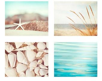 Beach Photography Set - Four Photographs beach print set seashore aqua blue cream white beige beach bathroom decor sea shore photo wall art