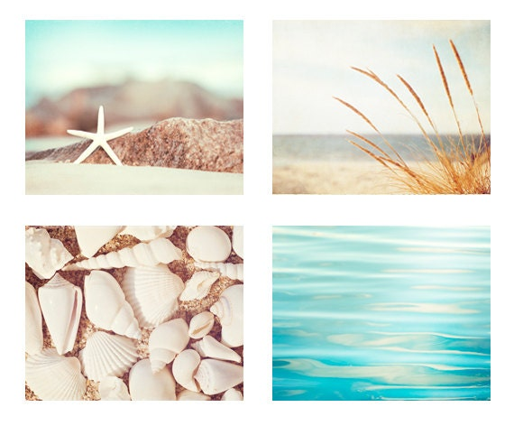 Beach Photography Set - Four Photographs 11x14, 8x10, 5x7 - beach print set seashore aqua blue cream white beige sea shore photo wall art