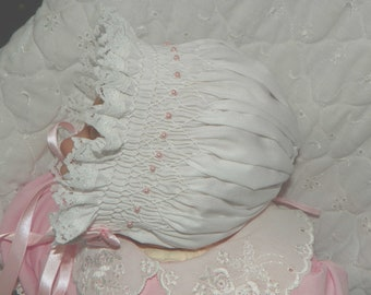 Newborn white with pink Pearls Bonnet