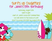 Printable Invitation-NEW Surfs Up Collection-Little Birdie Notes