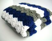 Baby Blanket, Blue, White, and Grey Crochet Blanket, stroller / travel size - Jadescloset