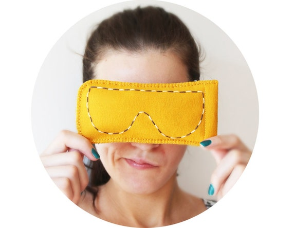 SALE Eyeglasses Happy orange eyeglasses case Funny accessory Hands stitched Unusual gift