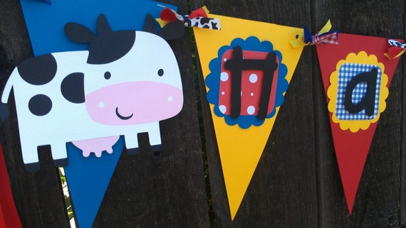 Farm Animals Happy Birthday Banner in red, yellow and blue.  Triangle banner, Pennant banner