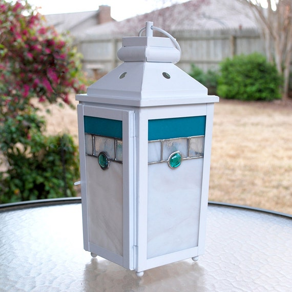White Candle Lantern with Stained Glass Panels