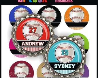 Editable Baseballs Bottle Cap Images - 4x6 Digital Jpeg Collage Sheet - BottleCap Size Images - One Inch Circles for Pendants, Badge Reels