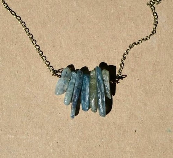 Natural Kyanite Spikes and Antique Brass Necklace