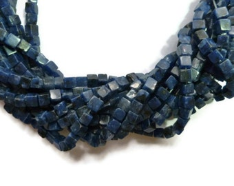 Blue Sodalite - 4mm Cube Bead - about 80 beads - Full Strand - square - box - navy - dark blue - blue stone - lapis - cobalt - blueberry