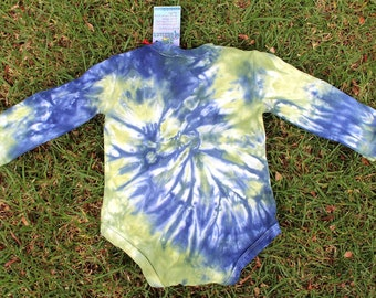 Green and Blue Tie Dye Baby Body Suit