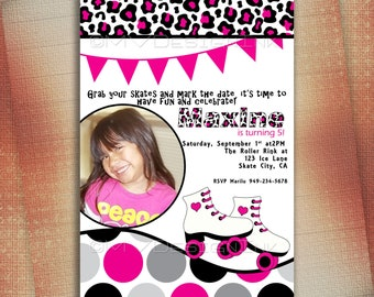 Skating Party Invitations, Roller Skate Invitation,  Roller Skating Party Invitations, Roller Skating Birthday Invitations, Roller Skates