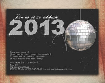 New Years Eve Party Invitation, Crystal Ball Drop New Year's Invitation - Digital File You Print