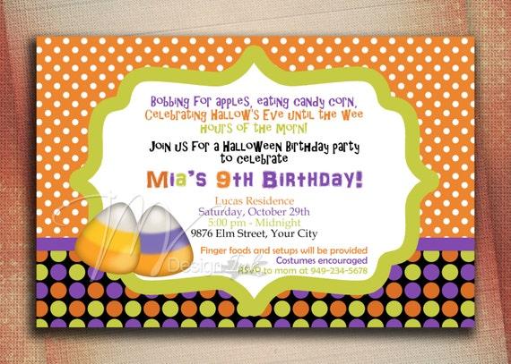 Halloween Candy Corn Birthday Invitation, Halloween Birthday Party Invite, Halloween Trick or Treat Birthday Invitation-DIY