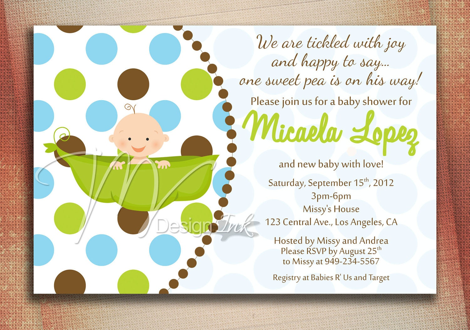 pea in a pod baby shower invitation baby in a pod by mvdesignink
