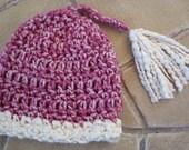 Baby Girl Crochet Beanie with Tassel - Ready to Ship