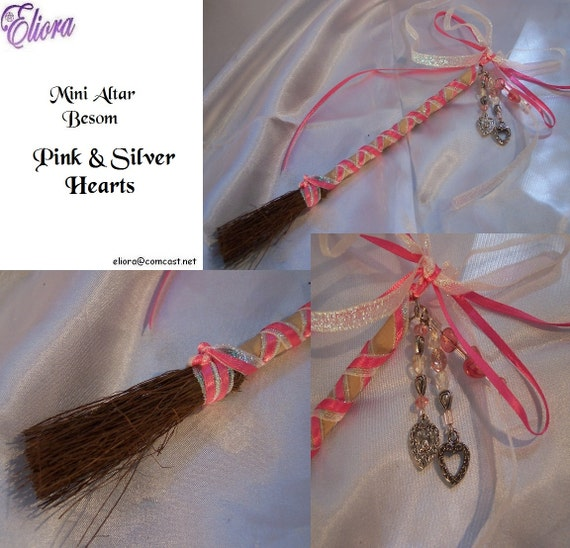 Mini Besom / Broom -  Pink and Silver Hearts -  S&H Included