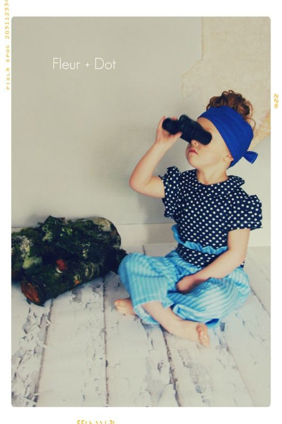 blue striped ruffle top wide leg trousers with pin stripes and polka dotted blouse for kids