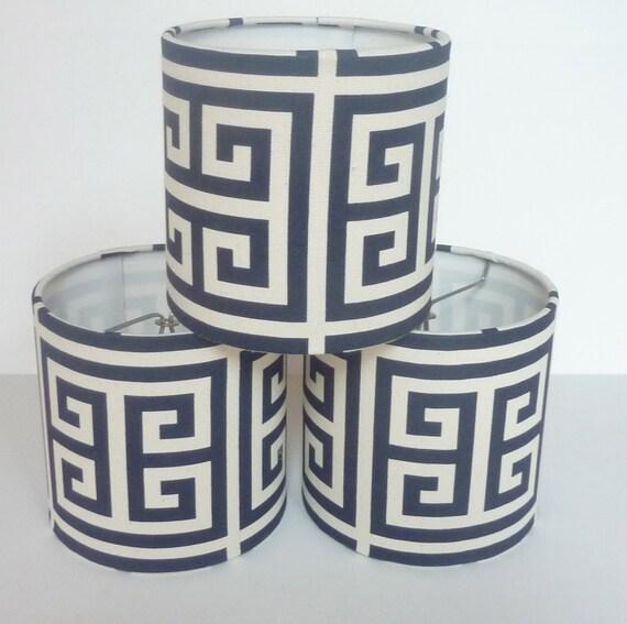 drum chandelier lamp shades in navy greek key. Black Bedroom Furniture Sets. Home Design Ideas