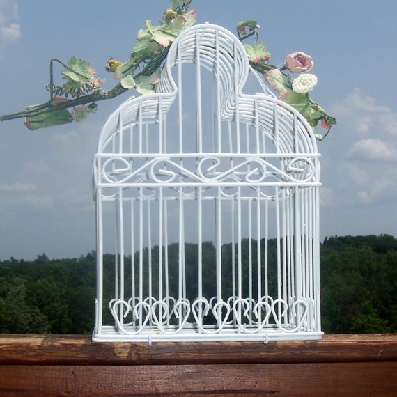 Bird cage pure white romantic weddings party decor shabby chic upcycled wedding decor focal piece