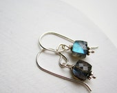 Labradorite Faceted Cube Earrings with Silver Hooks