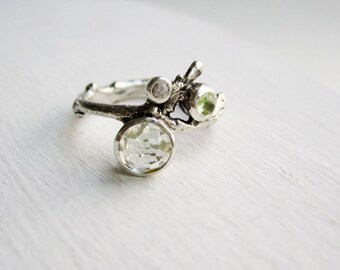 Green Amethyst, Peridot and White Sapphire, Silver Twig Ring
