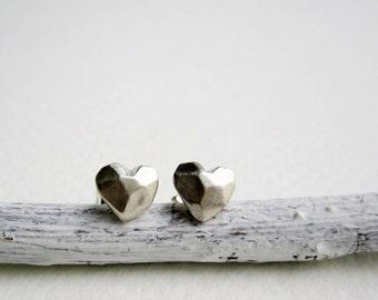 Faceted Heart Silver Stud Earrings