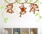Kids Wall Decal Monkeys on Vines Wall Decal