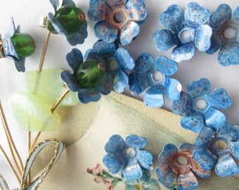 15 Wonderful Vintage  Metal Forget Me Not Flowers