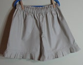 Girls Khaki Ruffle Shorts Tan Khaki Uniform Ruffle Shorts Sizes 1 to 8