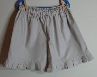Girls Khaki Ruffle Shorts Tan Khaki Uniform Ruffle Shorts Sizes 1 to 8