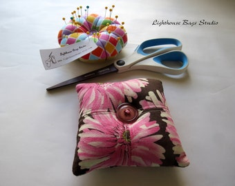 Square Pincushion - Pink Flowers Fabric