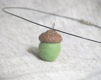 Green Felted Acorn Pendant Necklace (made with real acorn caps). Gifts Under 15