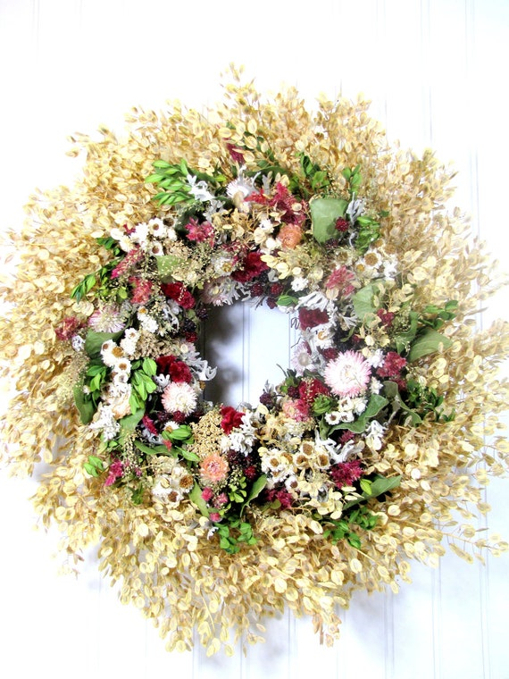 "Dried Floral Wreath ""Raspberry Fields"",  Wreath, Dried Flowers, Dried Floral Decor"