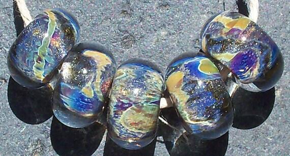 Liquid Silver Handmade Boro Lampwork Glass Bead Set Beads by Christina Burkhart