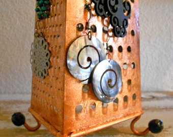 Unusual Earring stand ,Kitchen Grater Turns Into An Amazing Earring Holder, Copper Leaf Gilded,