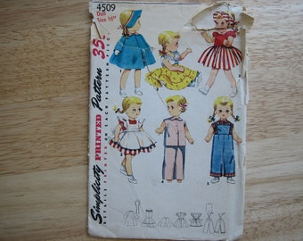 "Vintage Simplicity Pattern 4509 Doll's Wardrobe For 14"" BONNY BRAIDS And 16"" and 22"" Saucy Walker Doll     1953"