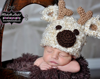 Cream Reindeer Hat Baby Photography Prop Sizes Preemie, Newborn, 0-3 months, 3-6 months