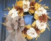 Fall Wreath Autumn Wreath Thanksgiving Wreath Brown Yellow Cream Burlap Bow