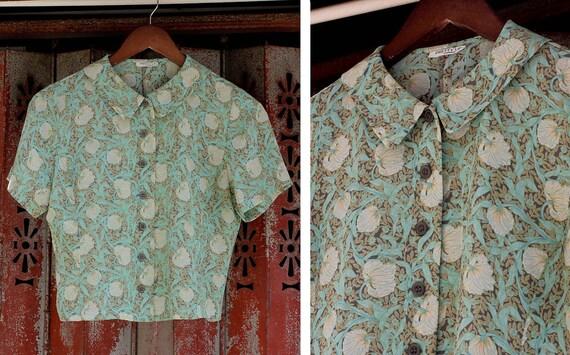 Vintage Mint Green Floral Print Blouse