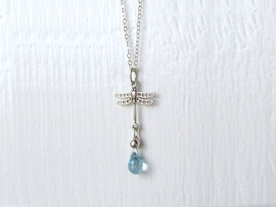 Sterling Silver Dragonfly Necklace : Blue Topaz Jewelry, November Birthstone Jewelry, Nature Jewelry, Insect Jewelry, Dragonfly Jewelry
