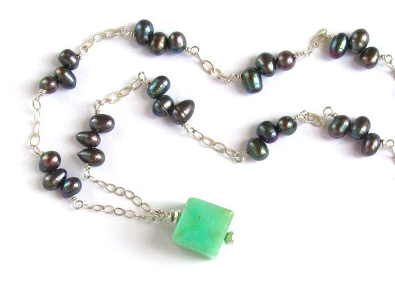 Elegant Chrysoprase Pendant Necklace with Black Pearls : Natural Stone Necklace, Green Necklace, Sterling Silver, Natural Stone Jewelry