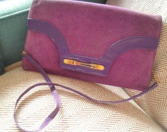 Vintage 60s purple suede Elgee shoulder bag with detatchable strap