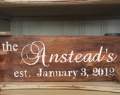 Personalized Family Established Sign made from Barn Wood, hand painted