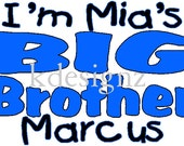Lot 3 Personalized Big Sibling iron-on shirt decals for new brother and sister