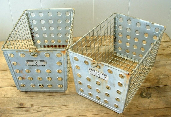 Set of 2 Old Vintage Lyon Industrial Metal Wire Gym Locker Storage Baskets with numbered tags