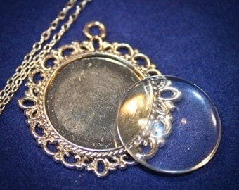 6 Complete Necklaces ( 20mm inside ) Includes 6 pendants, 6 crystal clear domed glass and 6 matching necklaces