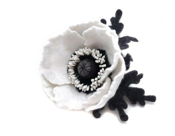 Felt flower brooch White Poppy